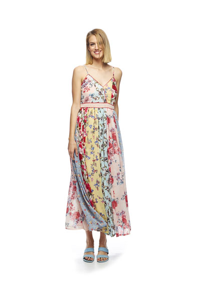VESTIDO MD´M LARGO PATCHWORK FLORES MULTICOLOR